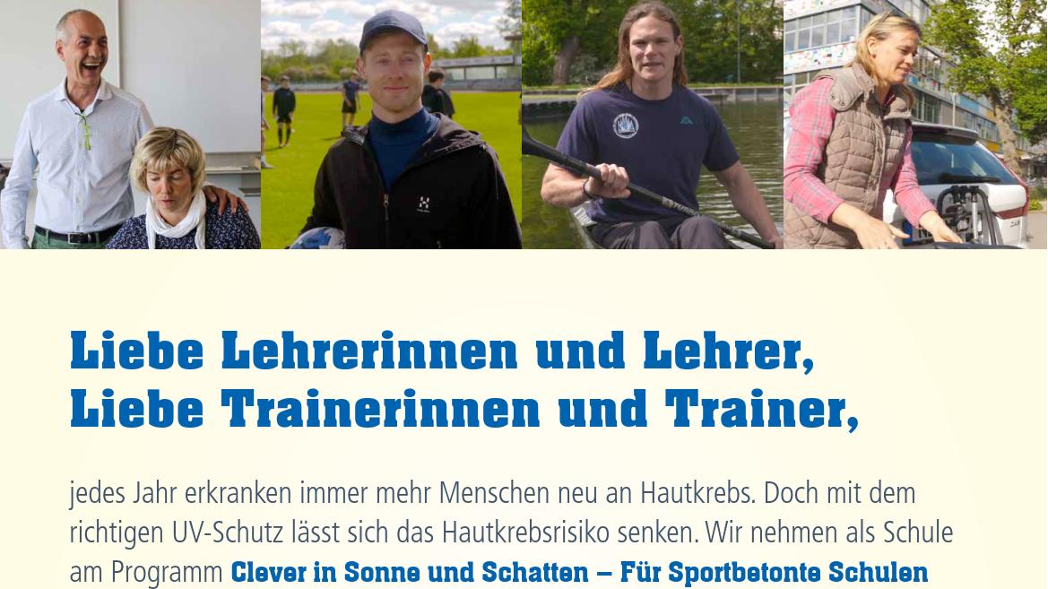 Aushang Sonnenschutz beim Sport für Lehrkräfte und Trainerteam Image
