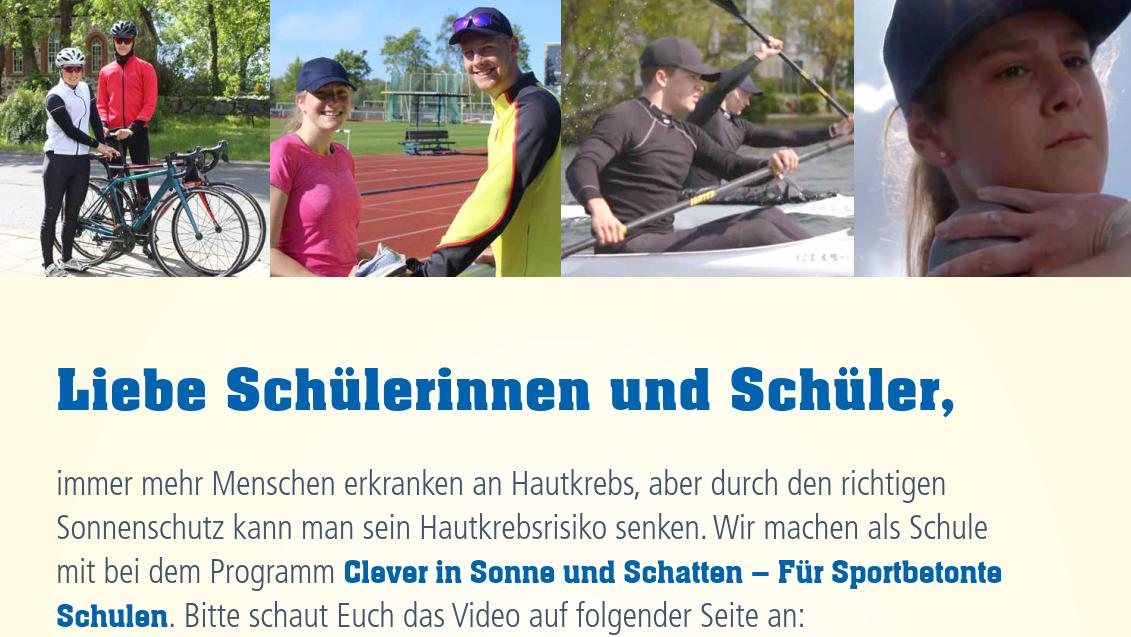 Aushang Sonnenschutz beim Sport für Schüler*innen Image