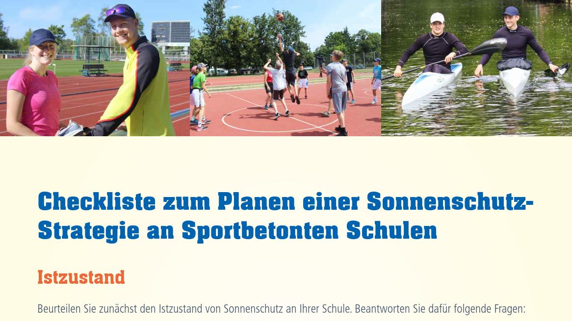 Checkliste zum Planen einer Sonnenschutz-Strategie an Sportbetonte Schulen Image