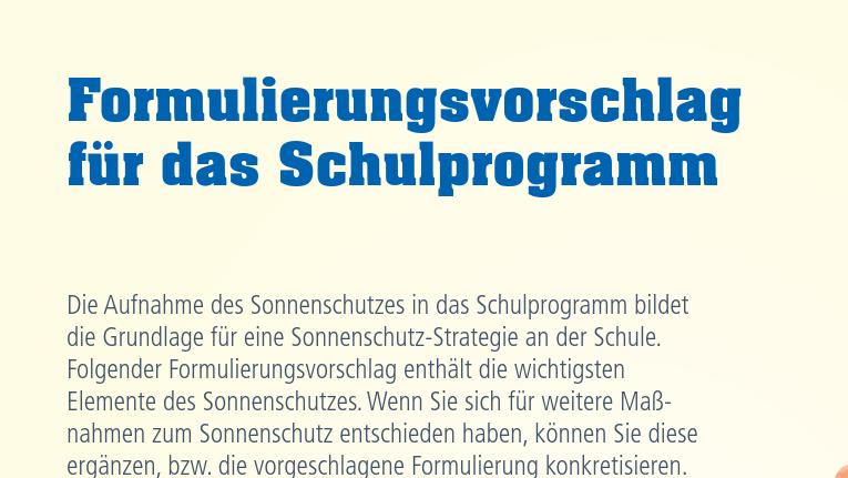 Formulierungsvorschlag für Aufnahme von Sonnenschutz in das Schulprogramm Image
